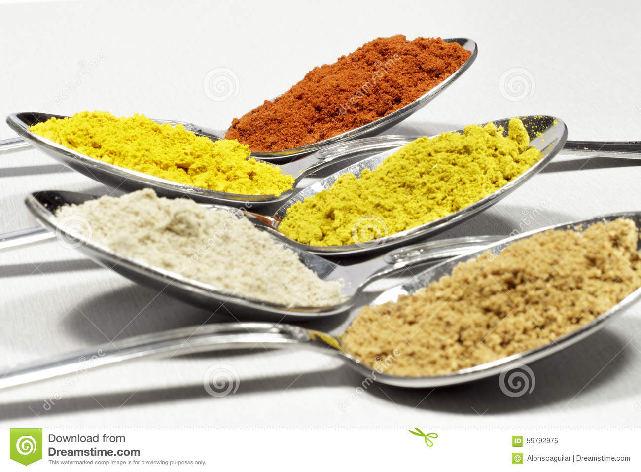 Spoonfuls Of Several Types Of Spices And Food Coloring Stock Photo ...