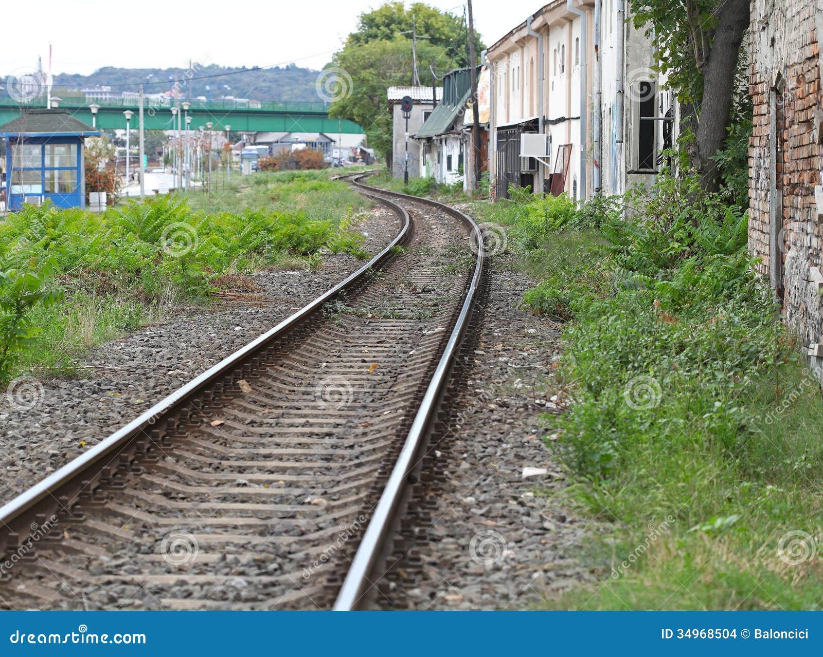 Spoorweg door krottenwijk