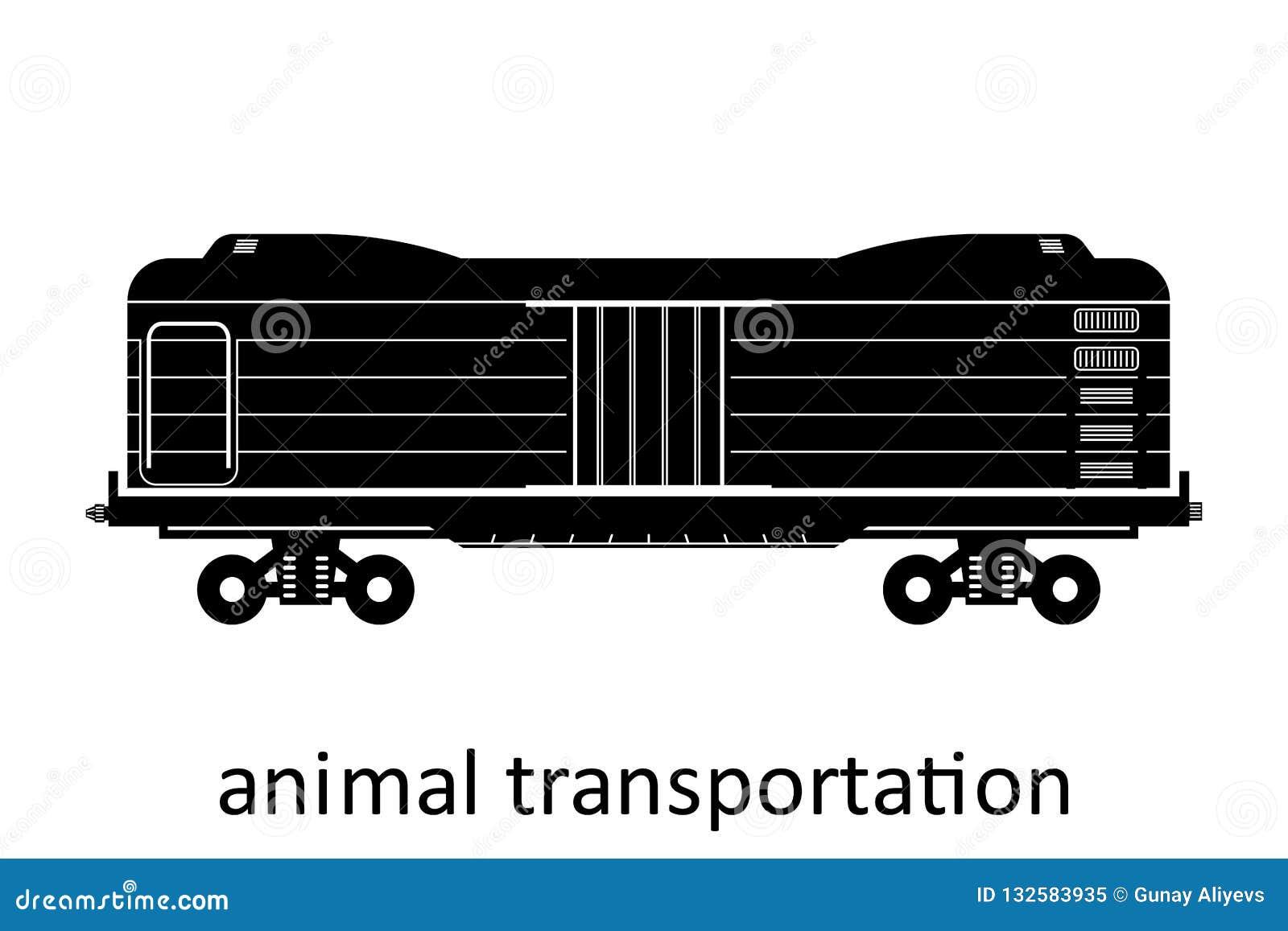 Spoorwegvervoer van dierlijk vervoer met naam Ladingsvracht die Vervoer door:sturen Vector Geïsoleerd illustratie Zijaanzicht