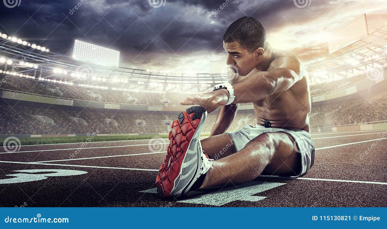 Sportów tła Biegacza rozciąganie na początek linii