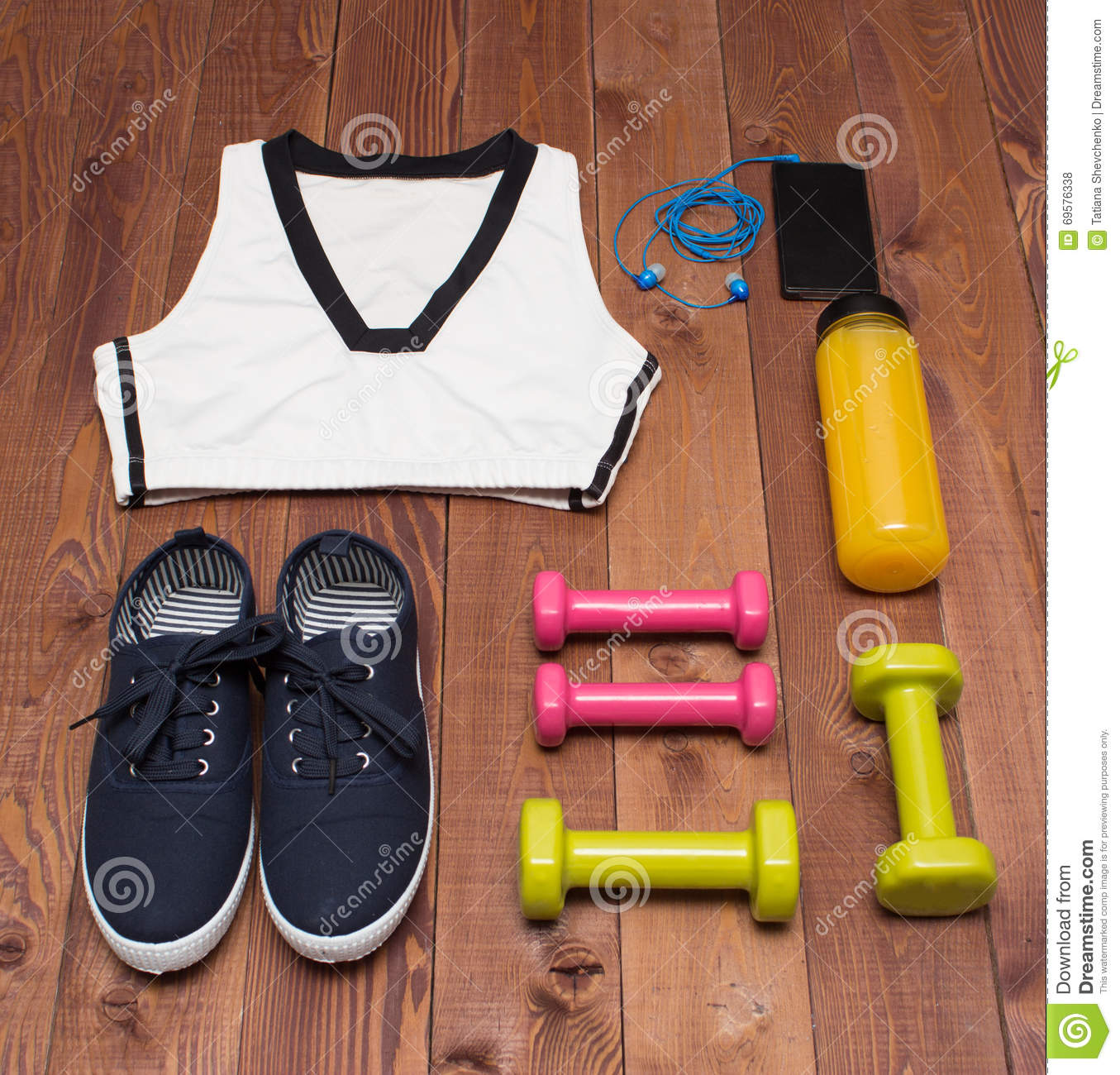 Sport Accessories: Clothes, Shoes, Weights, Bottle, Phone On