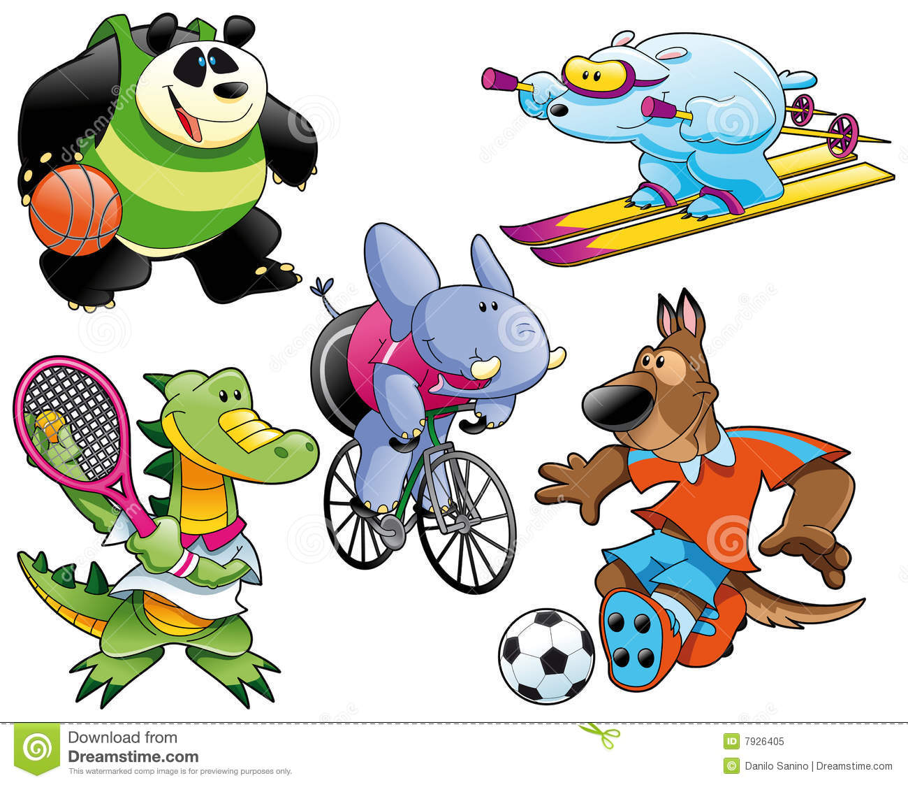 Sport and Animal: panda, polar bear, dog, crocodile and elephant.