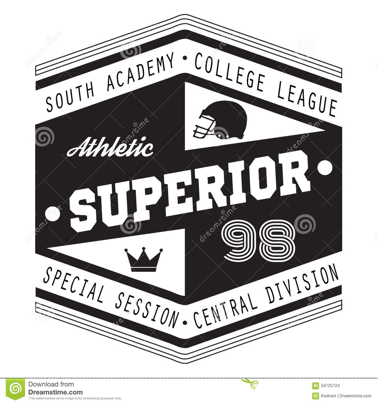 Sport Athletic Superior College T-shirt Design For Apparel Stock ...