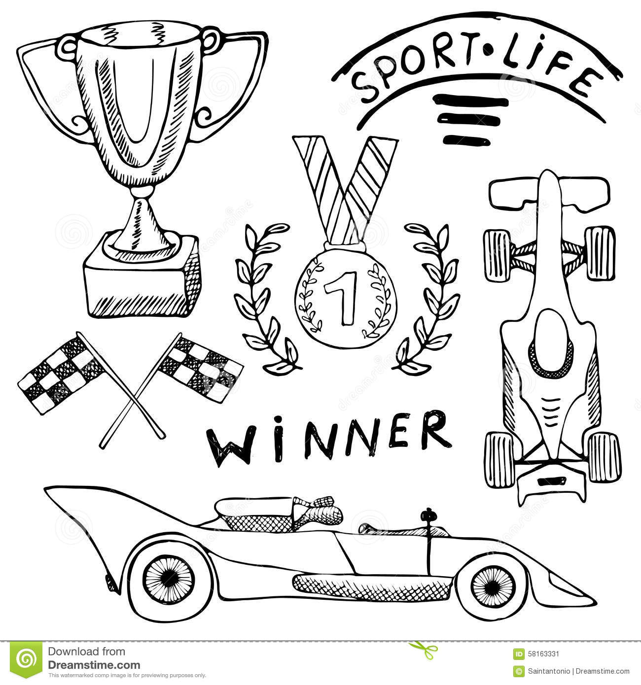 Sport Auto Items Doodles Elements Hand Drawn Set With Flag Icon