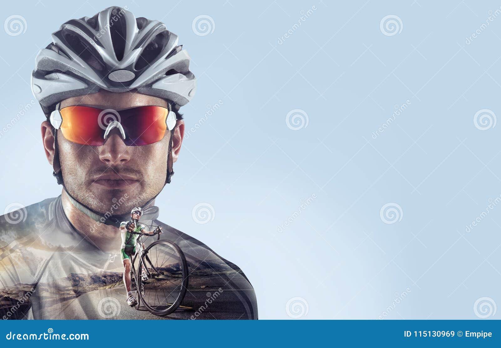 Sport backgrounds. Heroic Cyclist portrait.