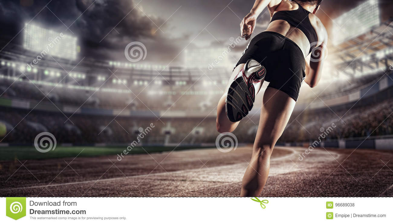 Sport Backgrounds. Soccer stadium and running track. 3d render