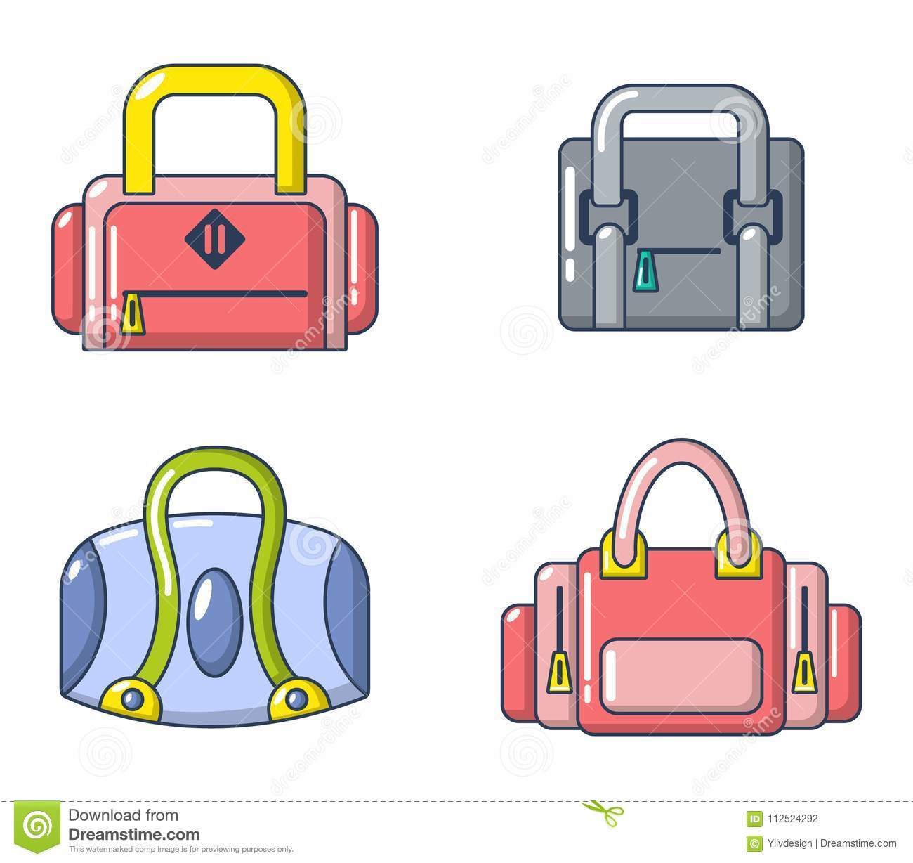 fc8d13af9783 Sport bag icon set. Cartoon set of sport bag vector icons for web design  isolated on white background