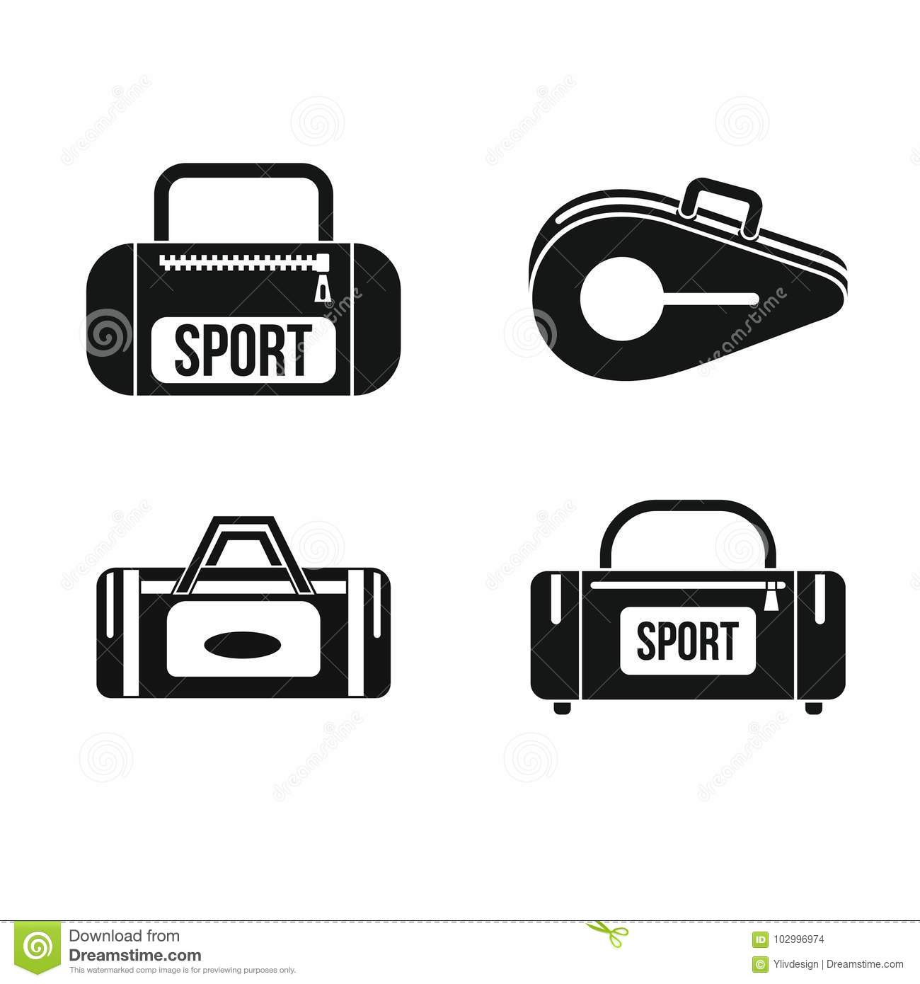 b5253310ba Sport bag icon set. Simple set of sport bag vector icons for web design  isolated on white background