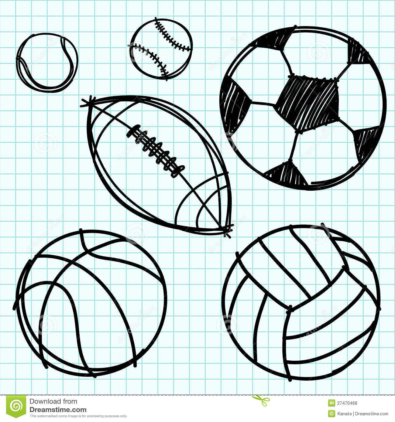 Drawing Line Graphs By Hand : Sport ball hand draw on graph paper stock vector image