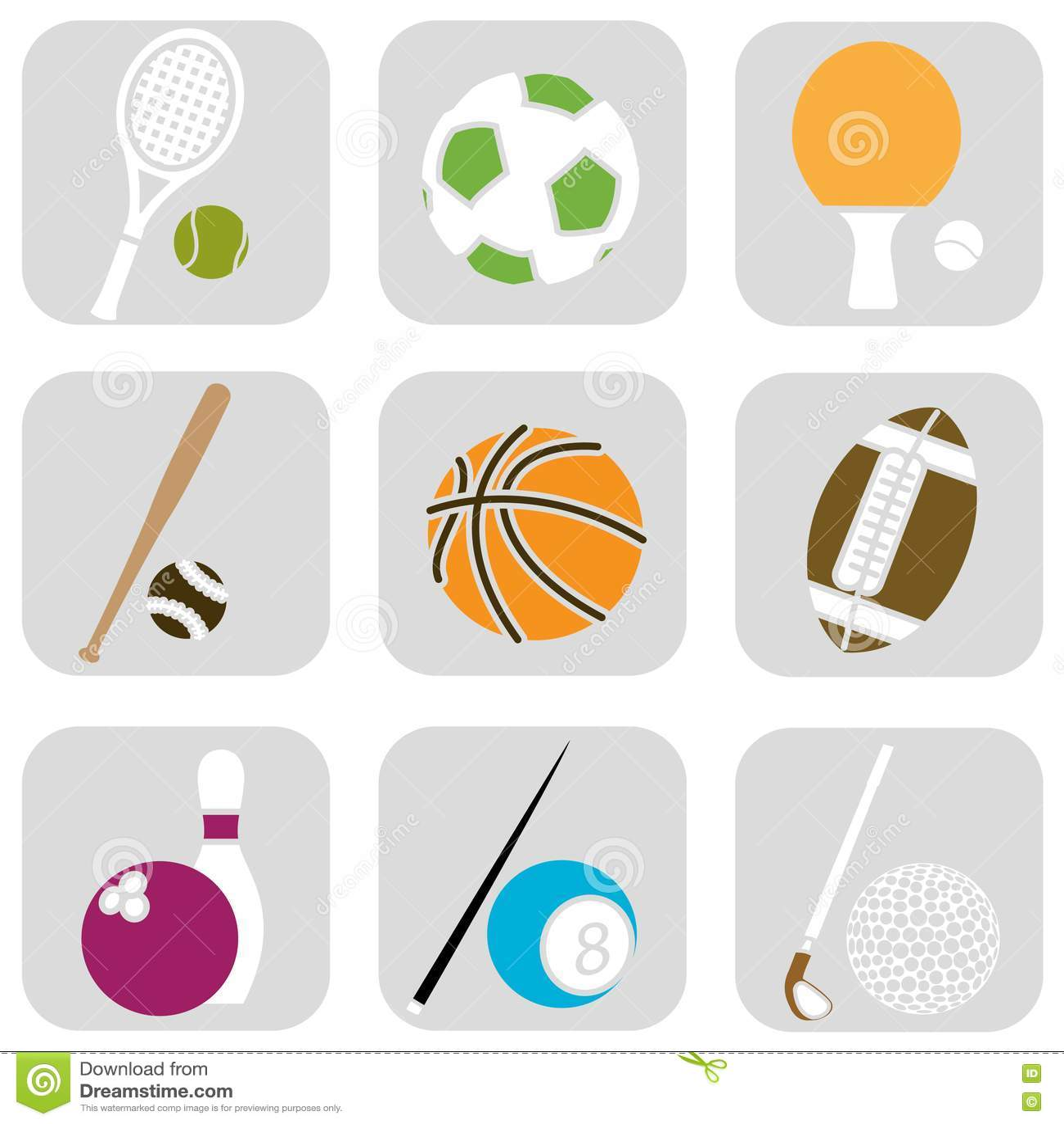 Sport Ball Icons Stock Vector Illustration Of Symbol