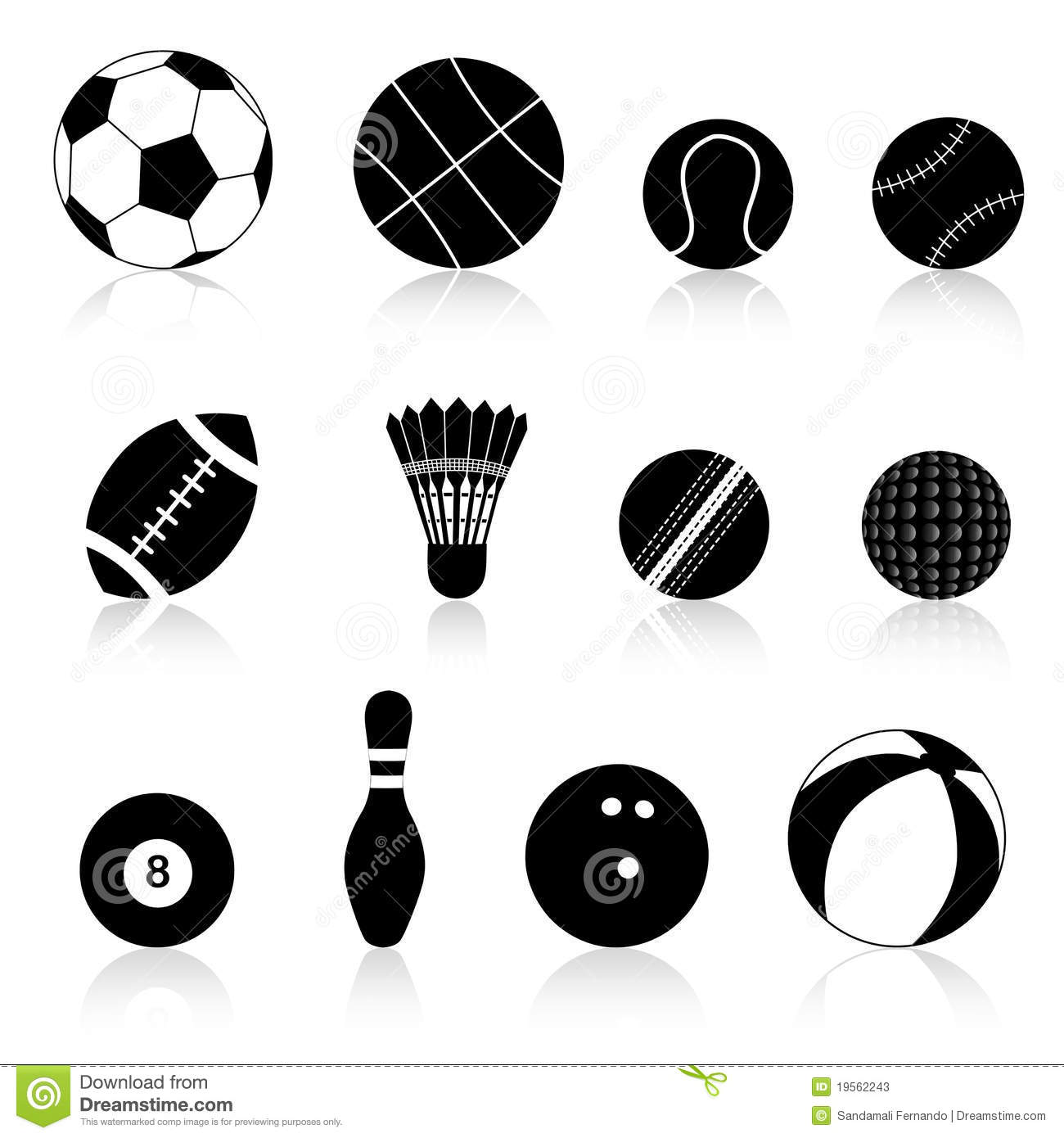 ball sport silhouette balls different clipart vector background preview dreamstime