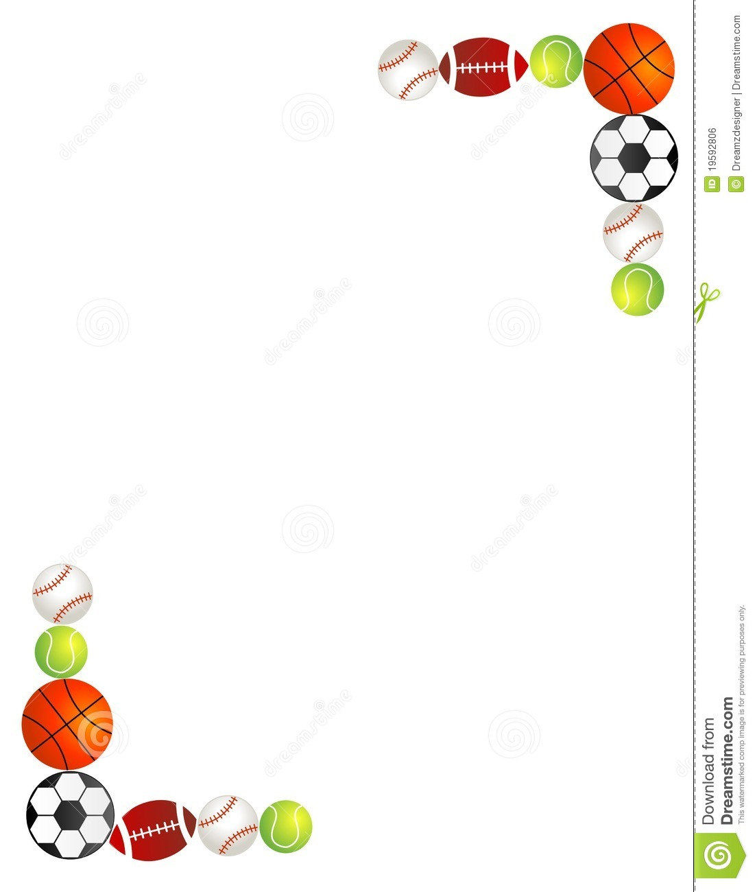 sport balls border frame stock vector illustration of artwork rh dreamstime com sports clip art borders free Sports Clip Art Black and White