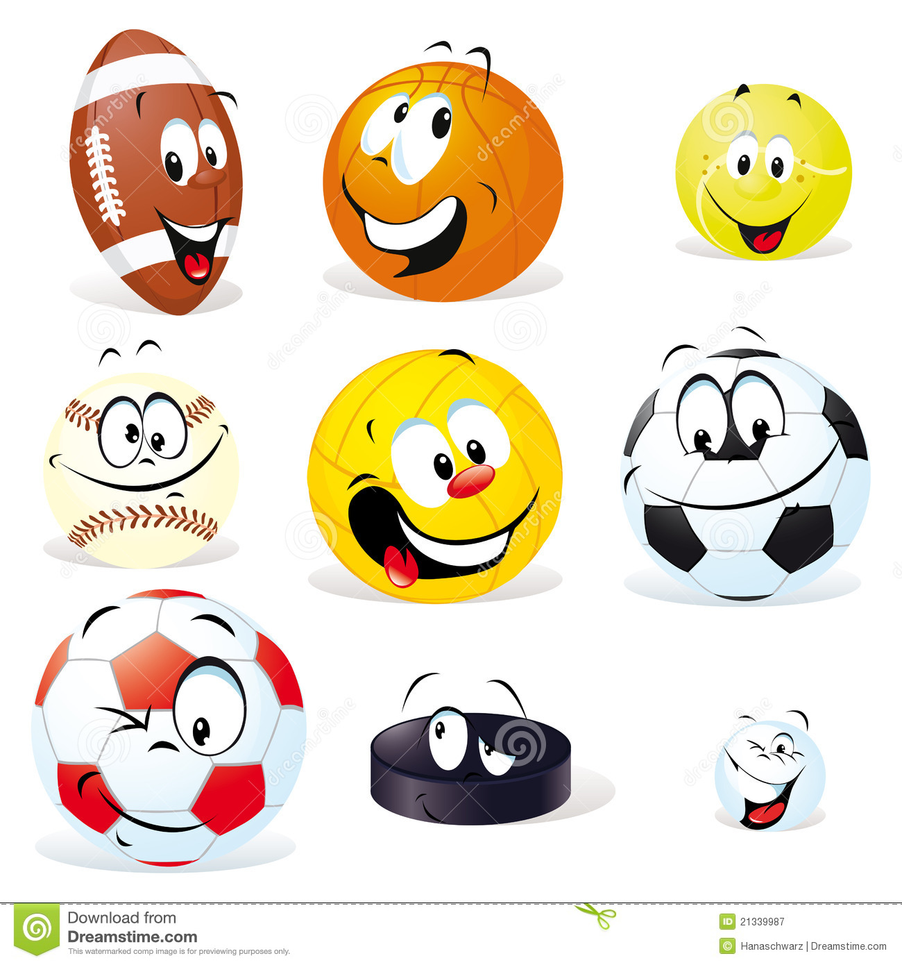 Sport Balls Cartoon Royalty Free Stock Photography - Image: 21339987