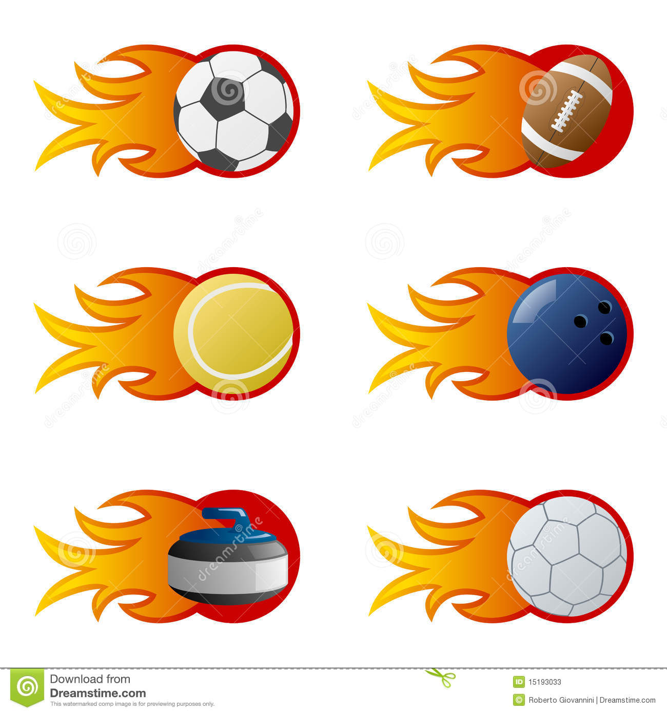 Collection of six sport balls (soccer, football, tennis, bowling ...