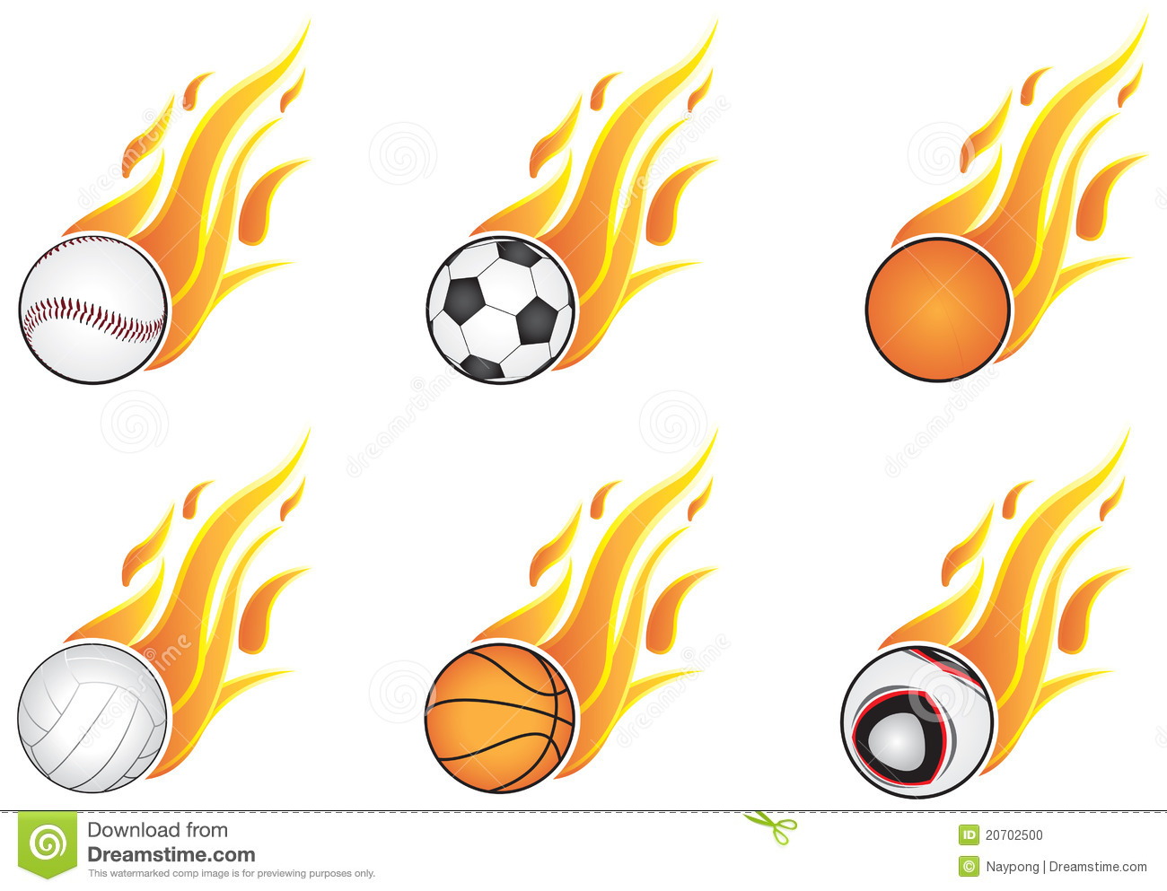 Sport Balls With Flames Stock Photo - Image: 20702500