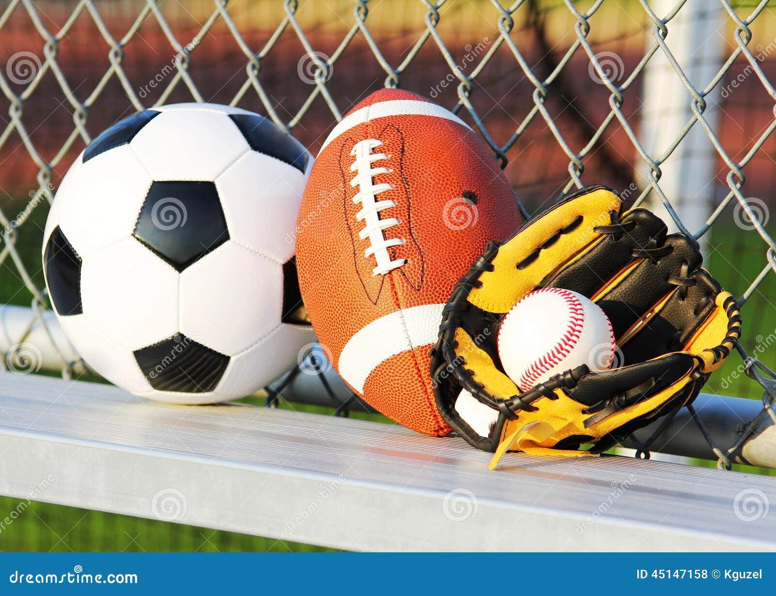 Sport balls. Soccer ball, american football and baseball