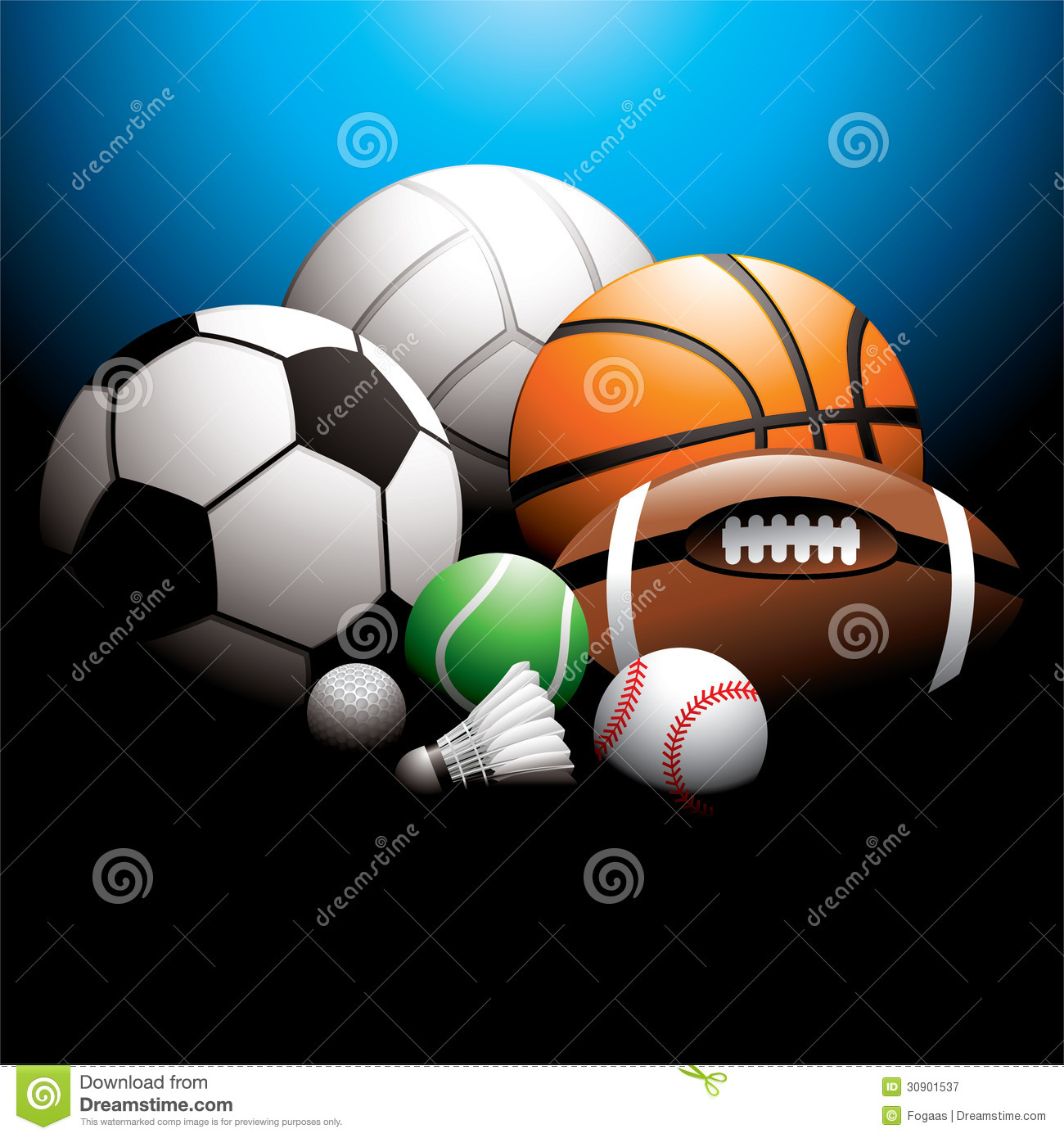 ... ball, badminton ball, golf ball, baseball and rugby on background