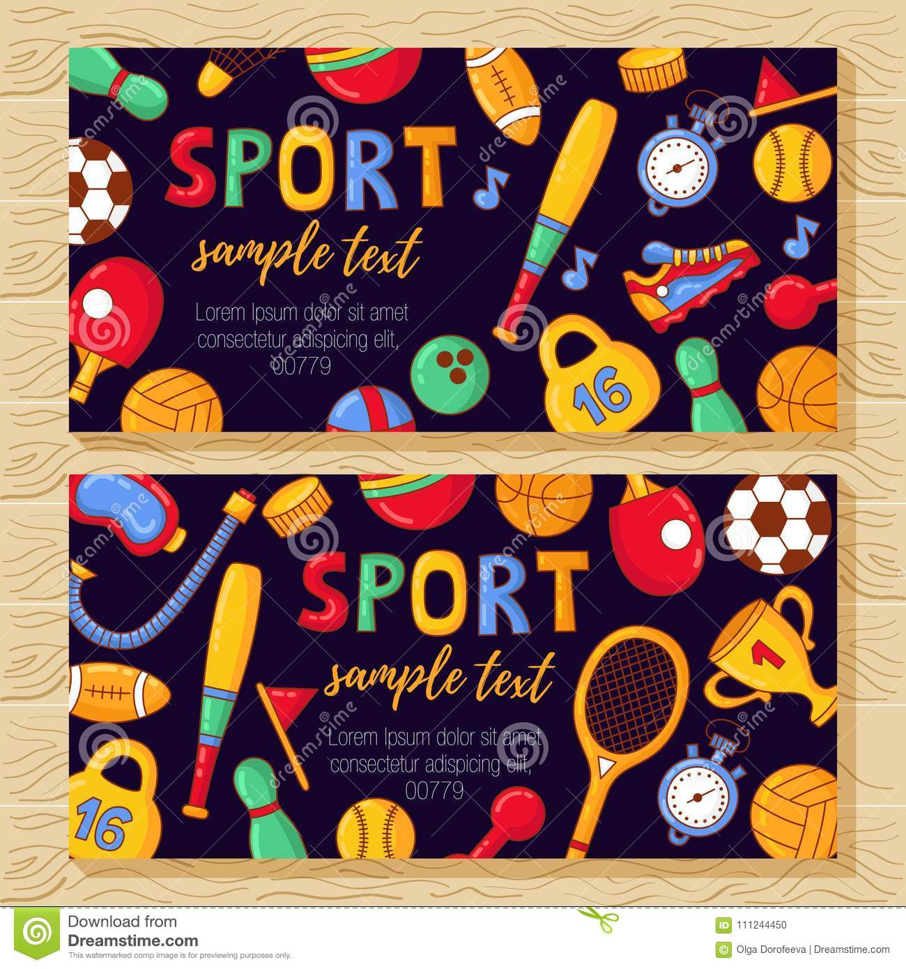 sport banners template with fitness doodle icons stock vector