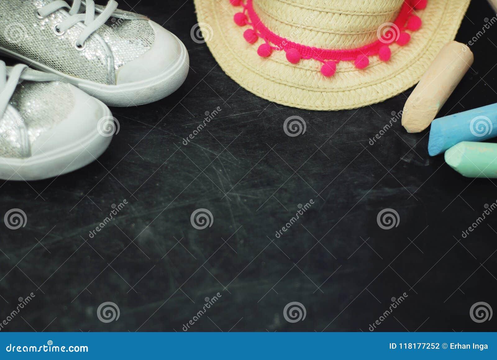 Sport Boots Children Chalkcs Chalkboard Textured Background Copy Space. Education family Parents