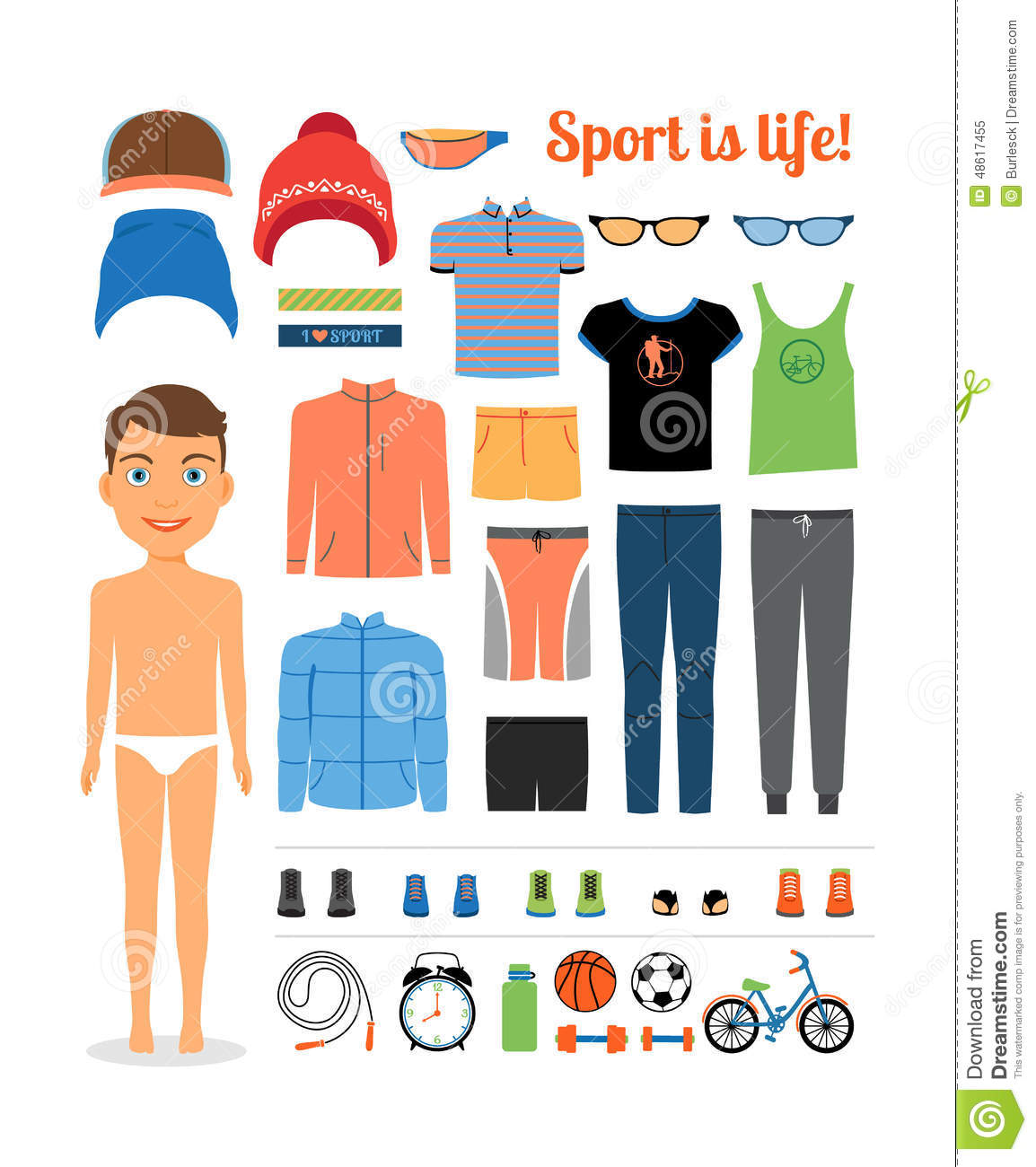Art Unlimited Sportswear: Sport Boy. Clothing And Sports Equipment For Stock Vector