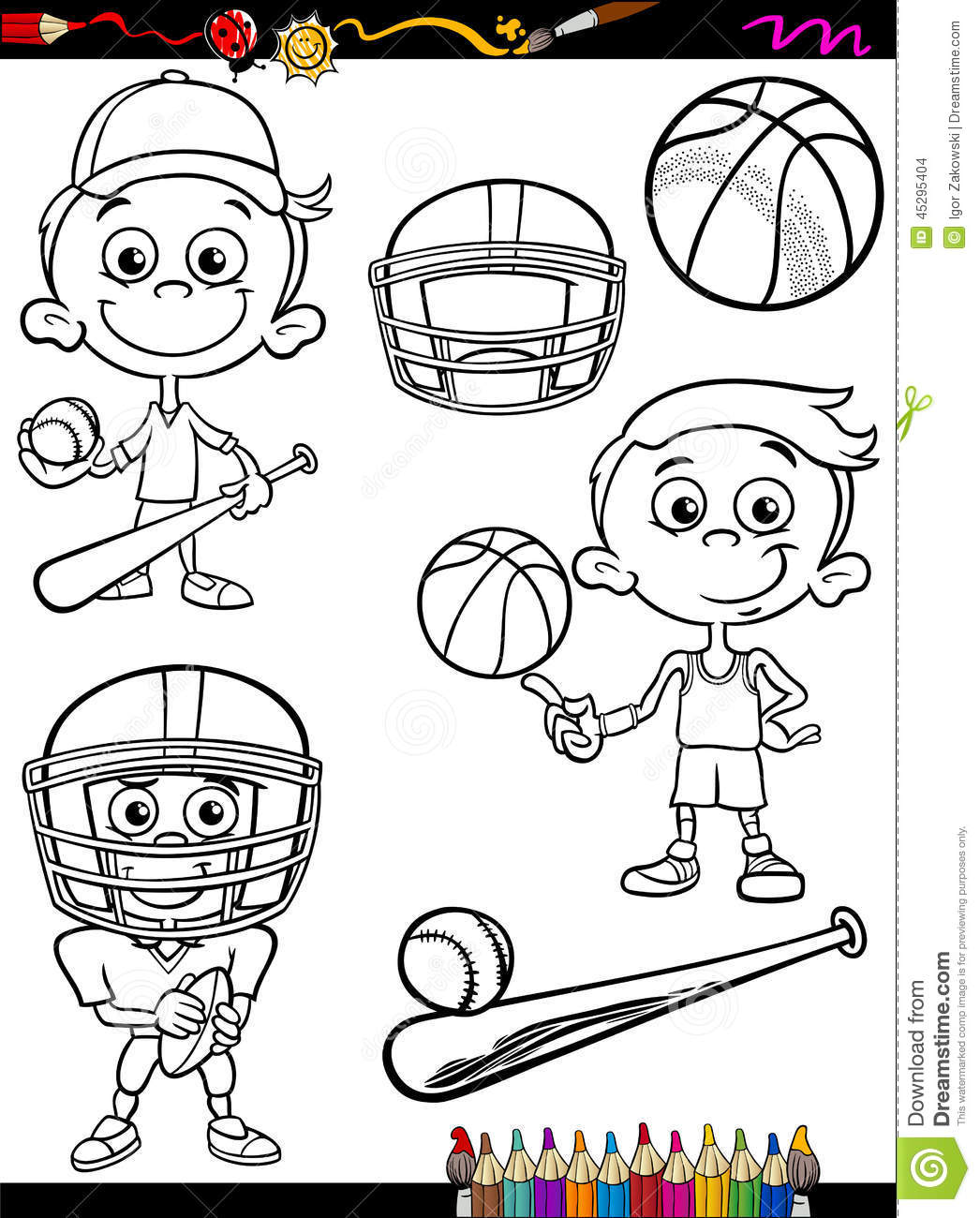 coloring sport balls characters vector illustration 15192982. Black Bedroom Furniture Sets. Home Design Ideas