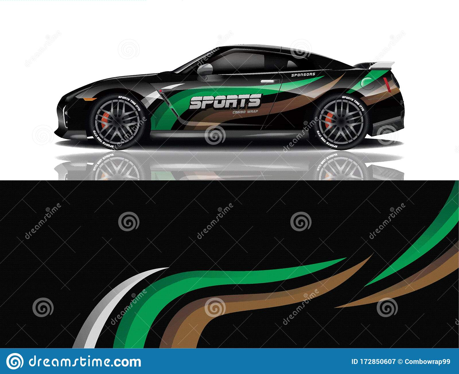 Sport Car Decal Wrap Design Vector Eps 10 Stock Illustration Illustration Of Mockup Color 172850607