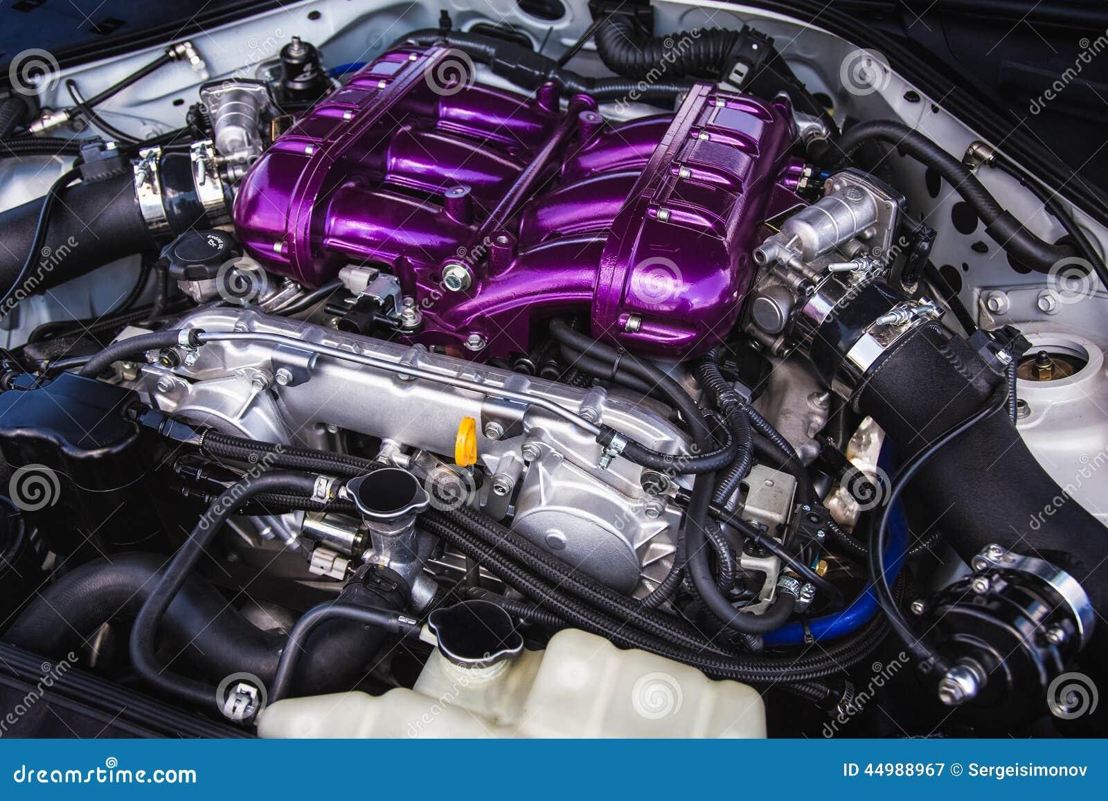 Sport Car Engine Stock Image Image Of Hood Camshafts 44988967