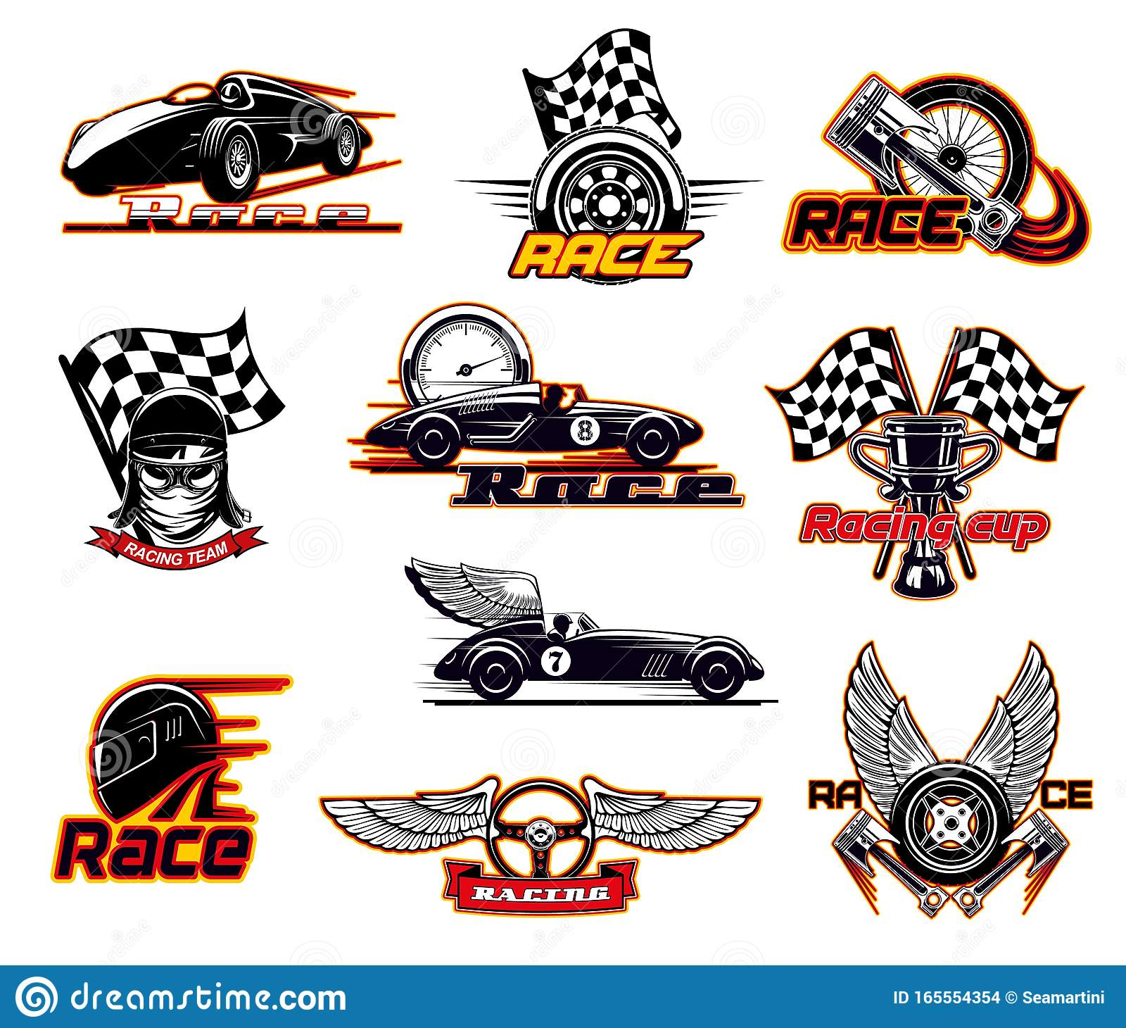 Sport Car Races Street Racing Motor Team Club Stock Vector Illustration Of Flag Racing 165554354