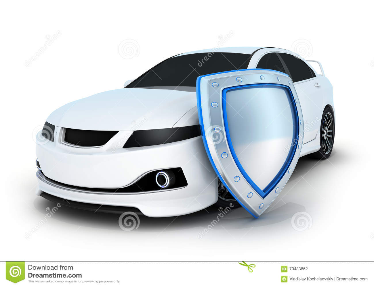 Sport Car And Shield Stock Illustration Image 70483862