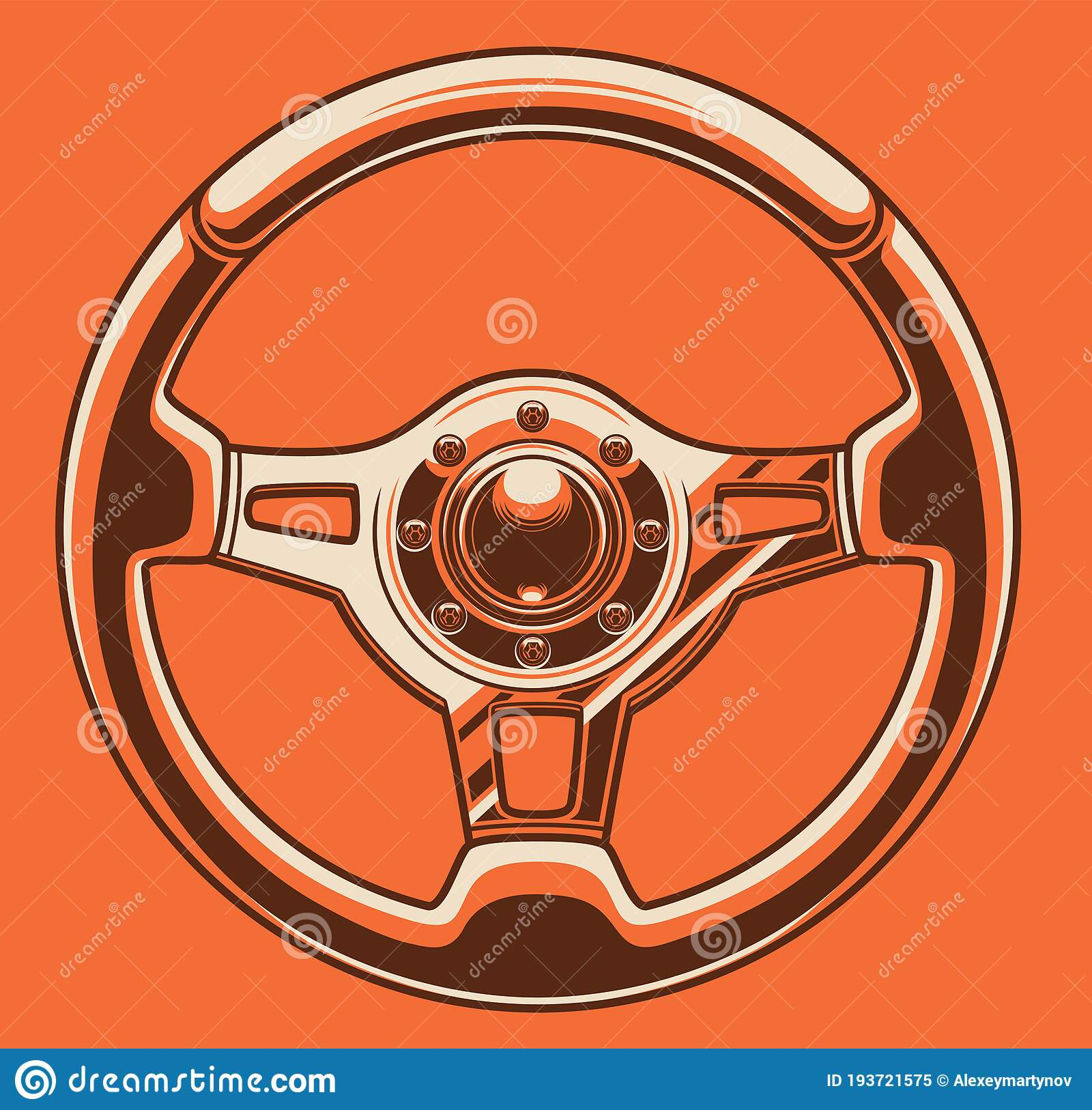 Sport Car Steering Wheel Art Stock Vector Illustration Of Competition Control 193721575
