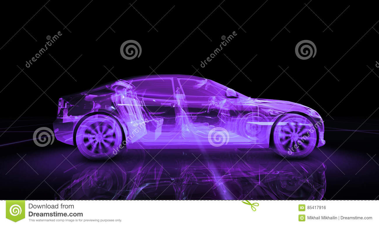 O B Wire | Sport Car Wire Model With Purple Neon Ob Black Background Stock