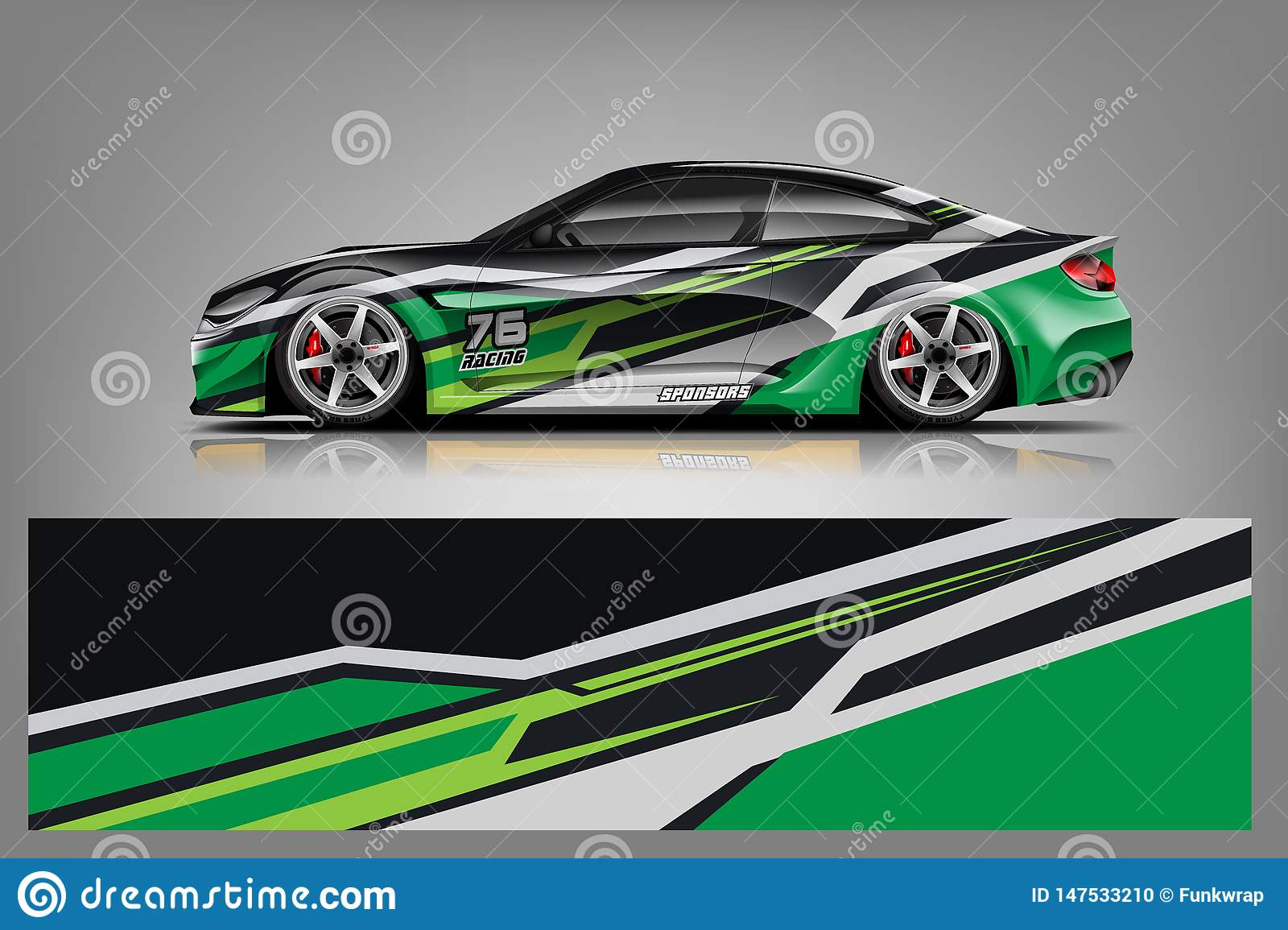 Sport Car Wrap Design Vector Truck And Cargo Van Decal Graphic