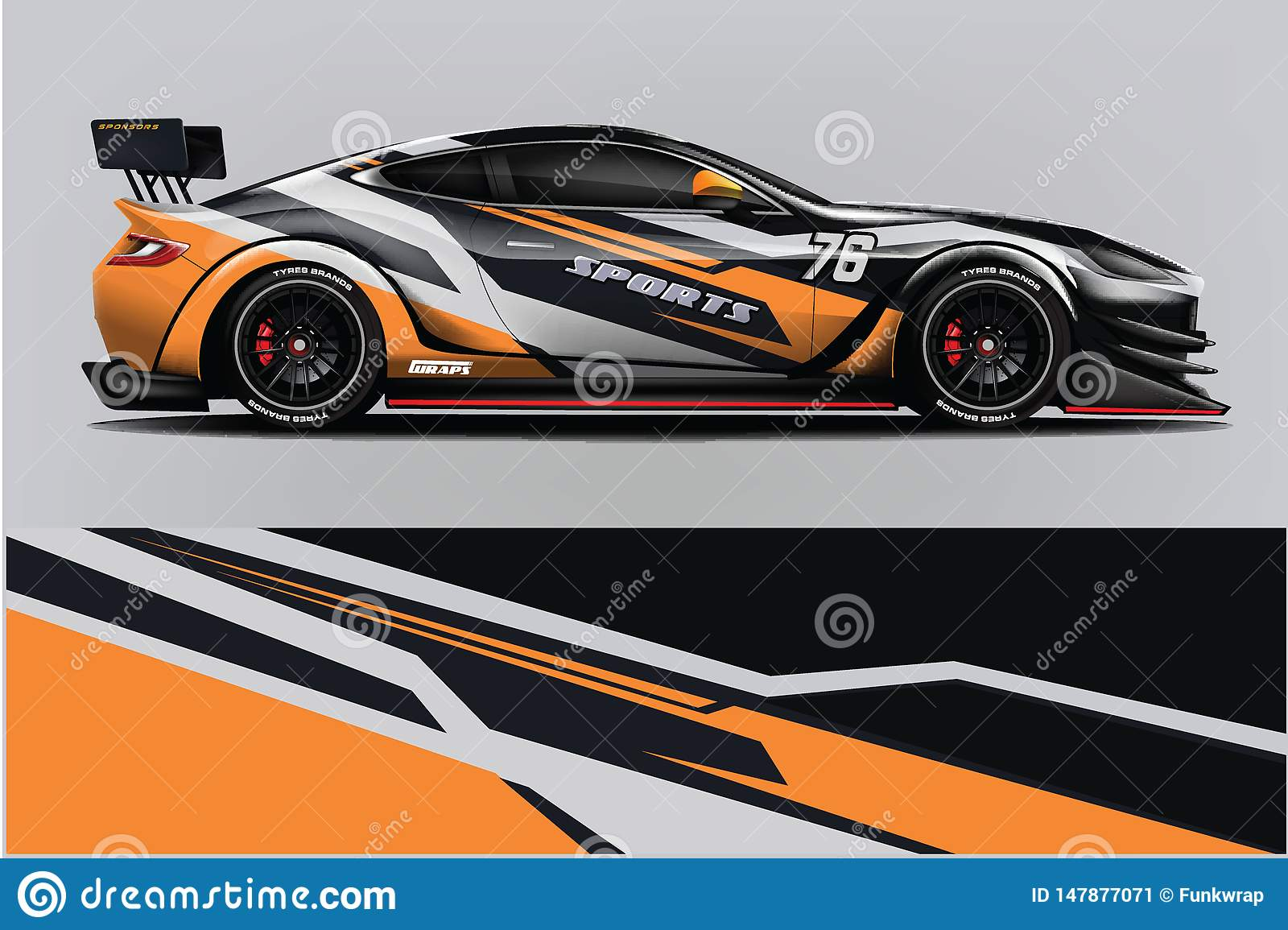 Sport Car Wrap Design Vector, Truck And Cargo Van Decal