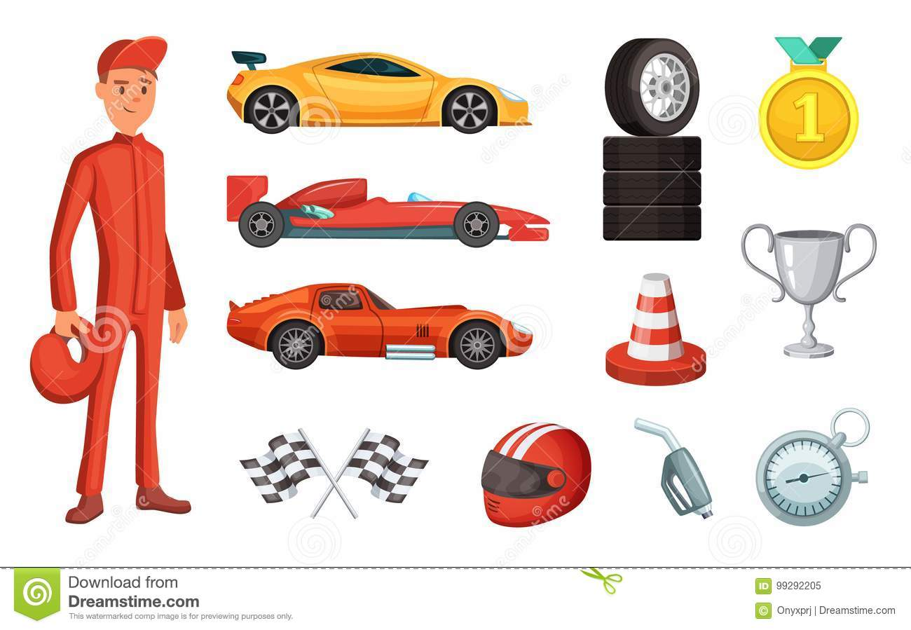 Sport Cars And Different Racing Icons Set Engine Helmet Motor And