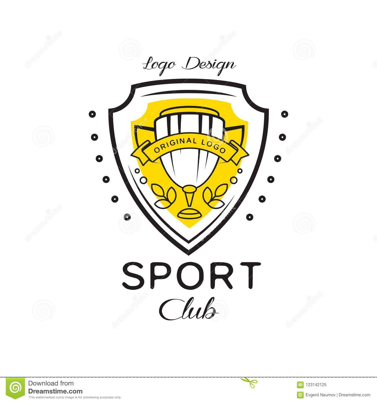 Sport Club Logo Design Heraldic Shield With Winner Cup Badge Can Be Used For Fitness Club Sport School Vector Stock Vector Illustration Of Creative League 123142125