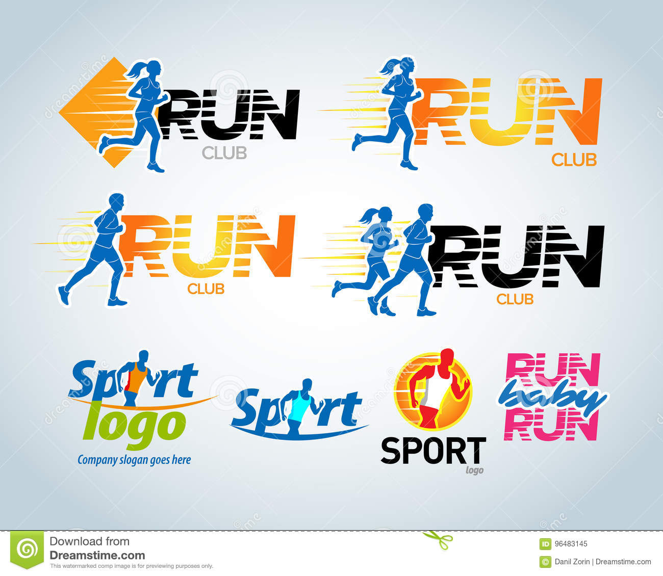 Sport Club Running Club Vector Labels And Emblems Logotypes