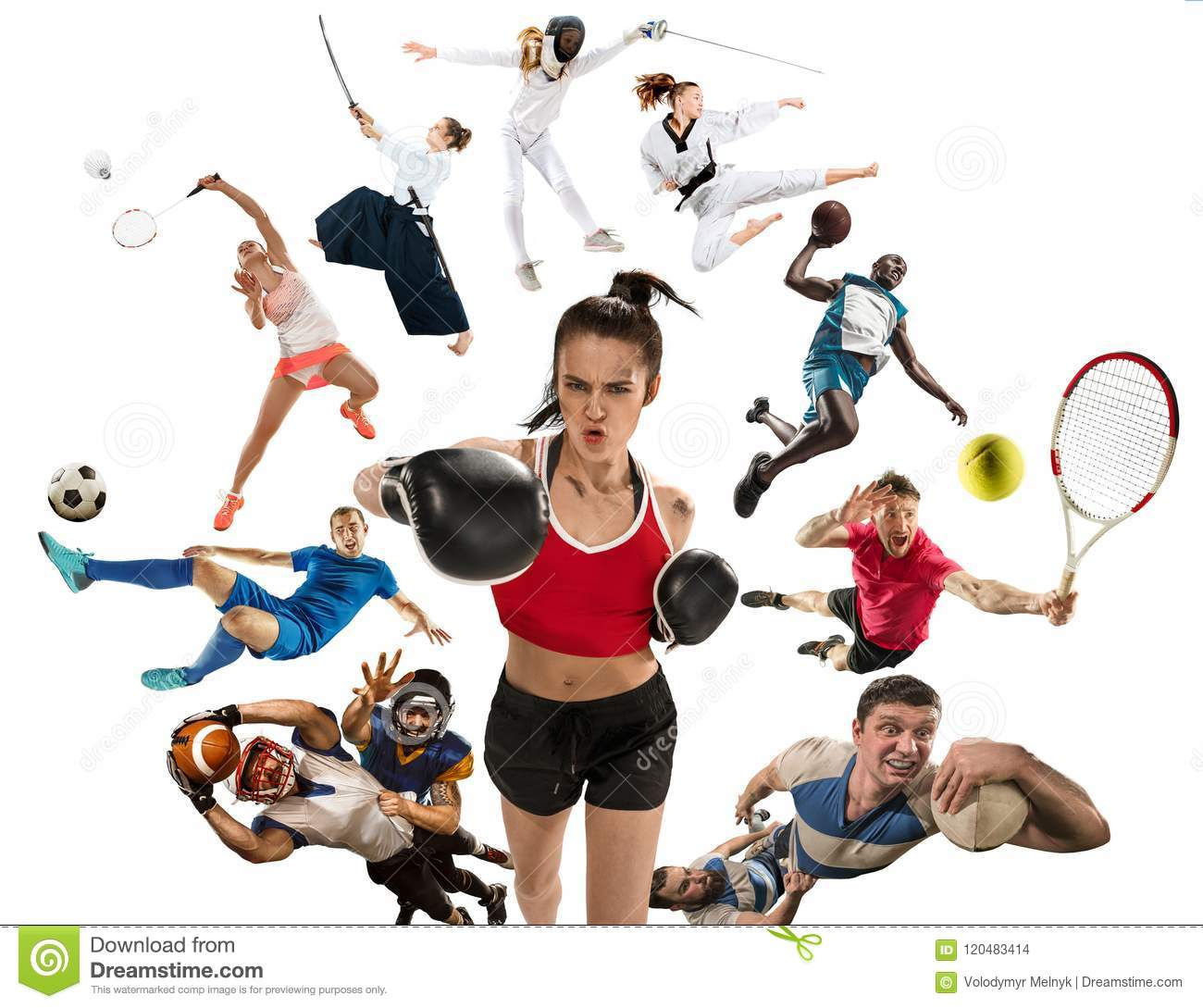 Sport collage about kickboxing, soccer, american football, basketball, badminton, taekwondo, tennis, rugby