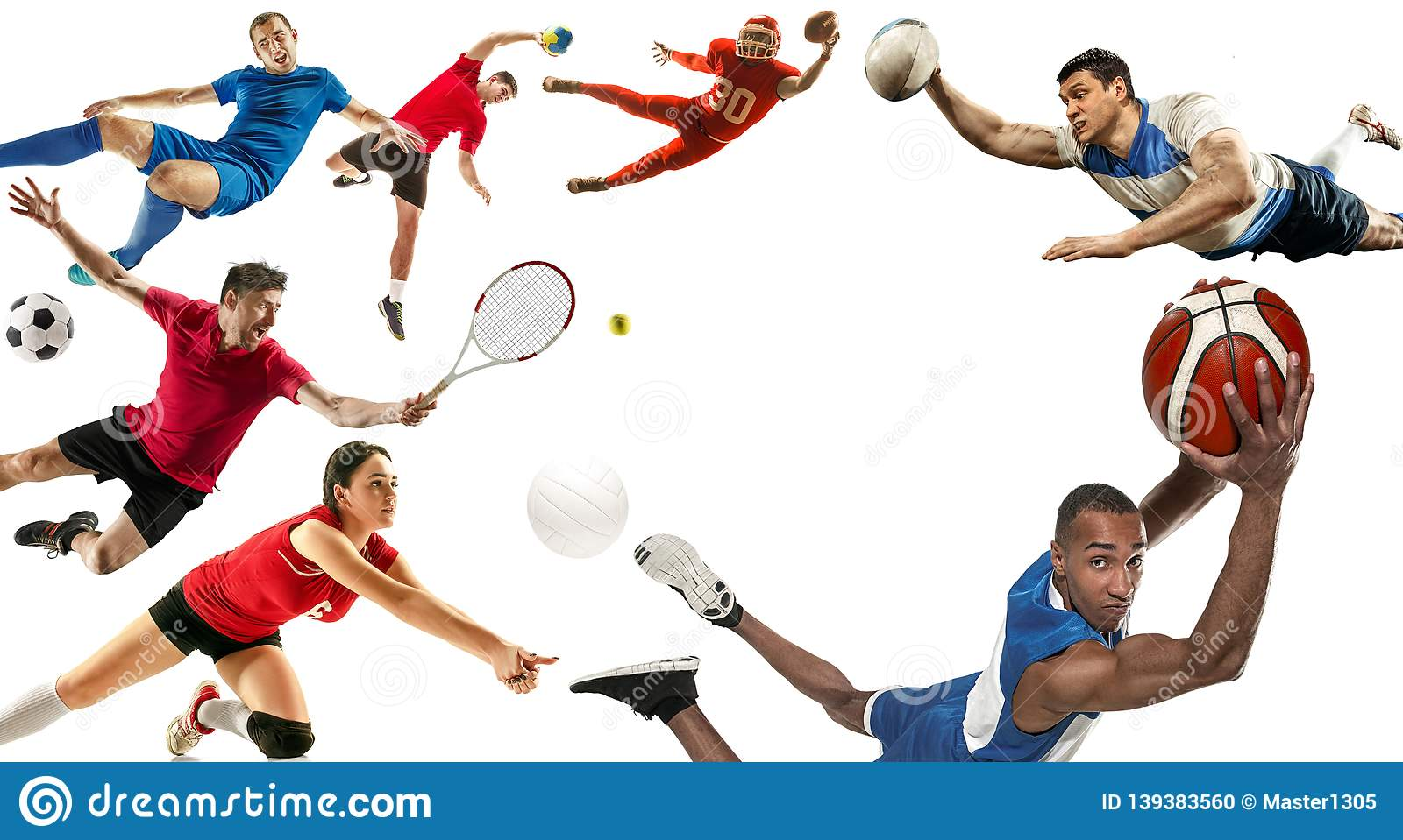 Sport collage about soccer, american football, basketball, volleyball, tennis, rugby, handball
