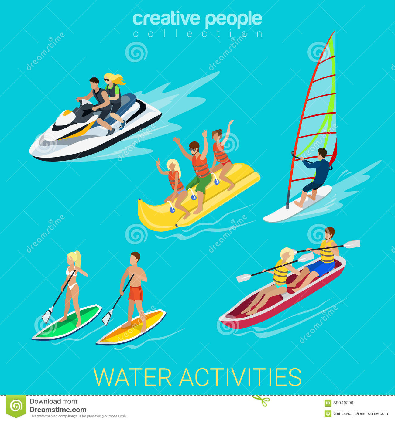 Sport Collection: Wind Surf, Boating, Scooter, Banana ...