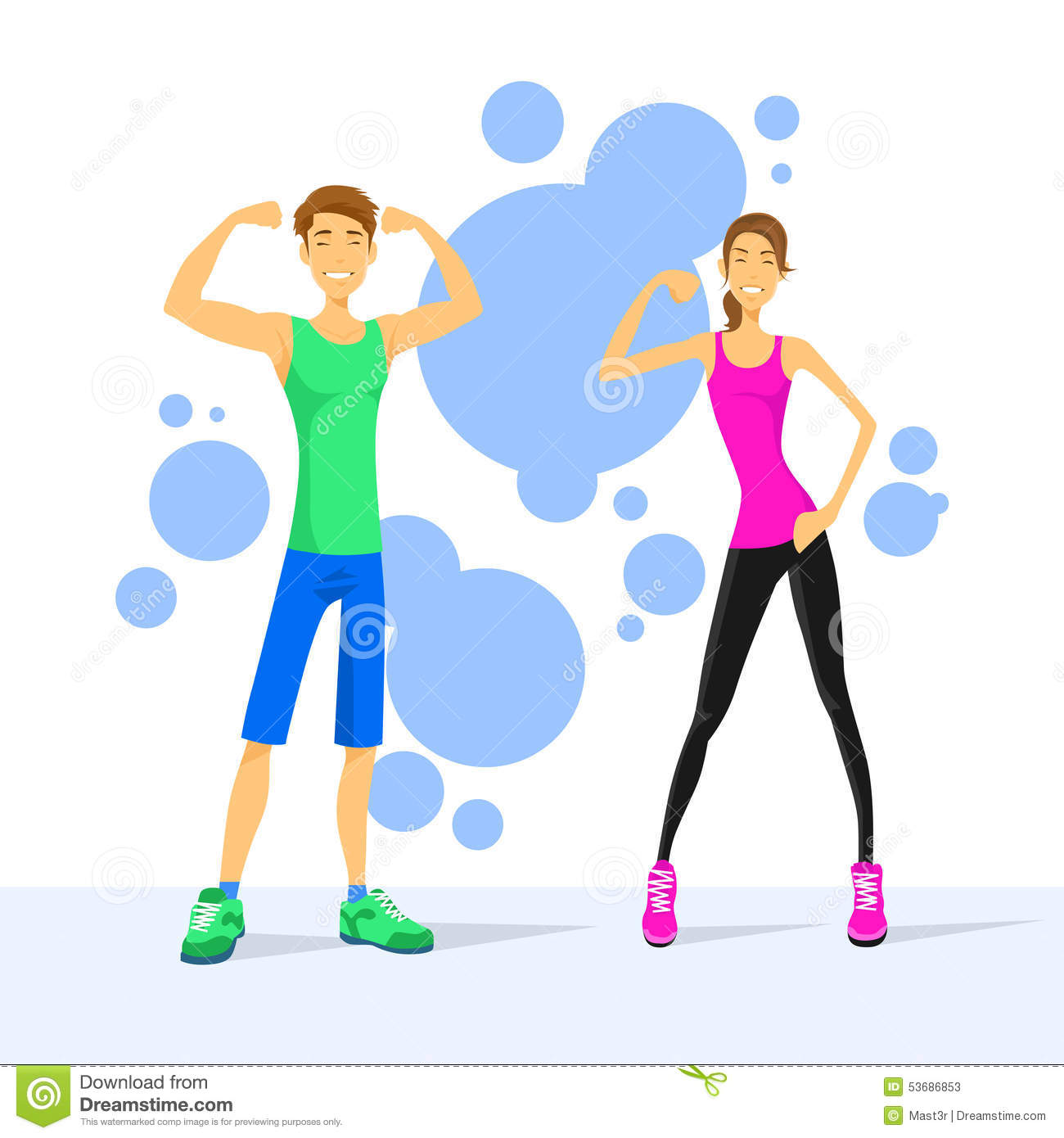 sport couple man and woman show bicep muscles stock vector