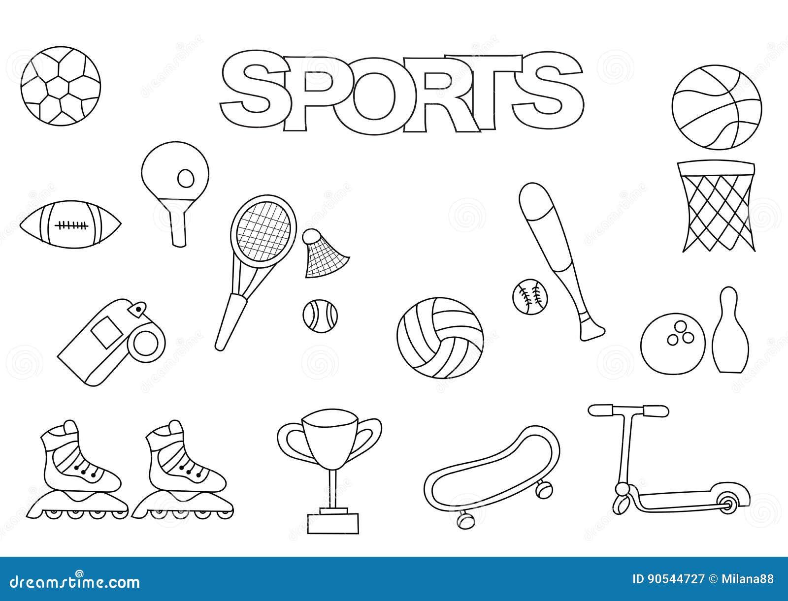 Sport Disegnati A Mano Fissati Modello Del Libro Da Colorare