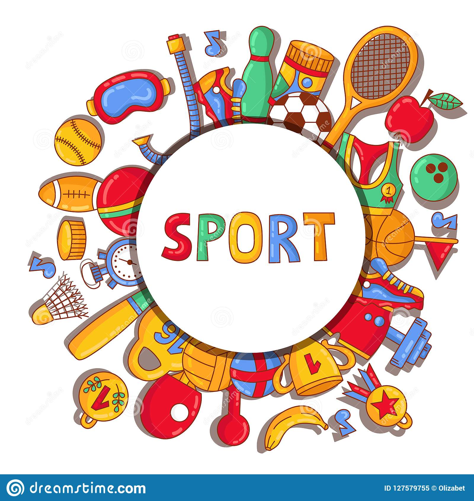 sport doodle cartoon icons banner template stock vector