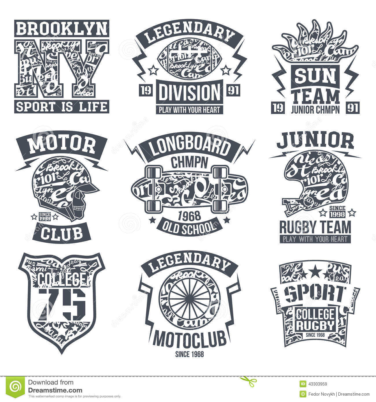 Sport emblem set graphic design for t shirt stock vector for T shirt graphic designer