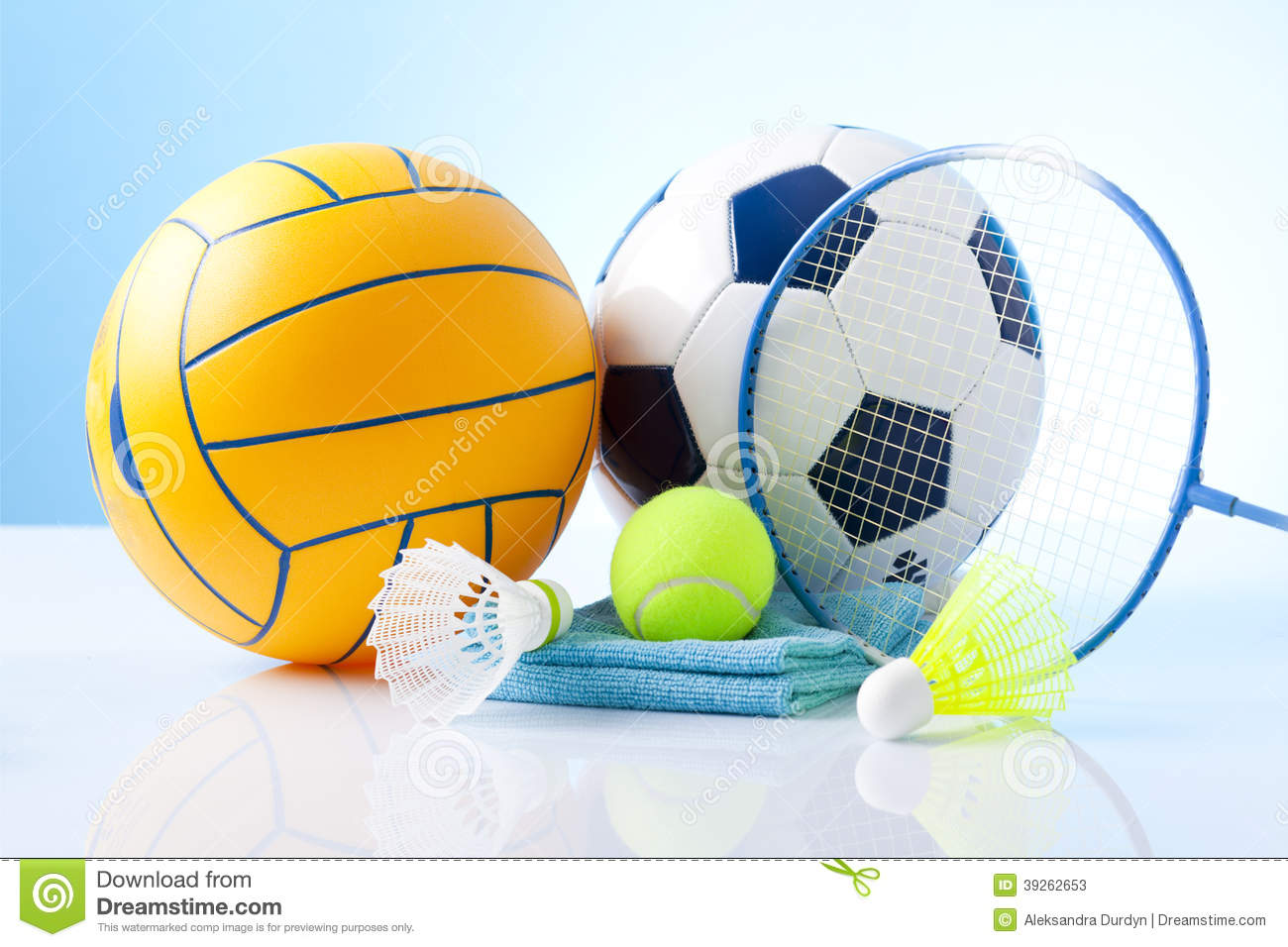 Background Abstract Volleyball Blue Yellow Ball Frame: Sport Equipment On Blue Background Stock Photo