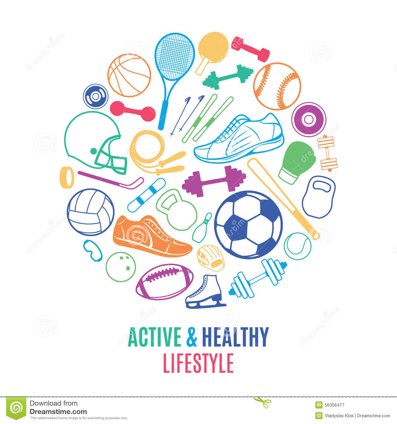 sport equipment healthy lifestyle pattern label template