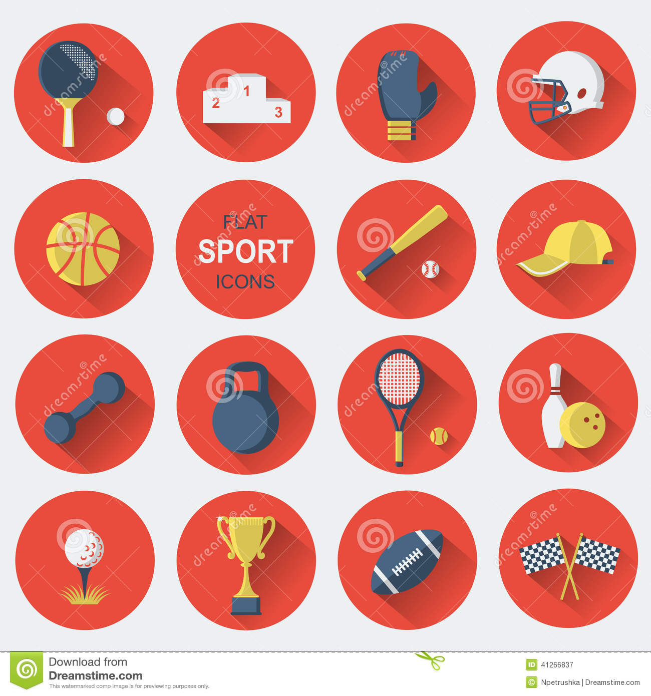 Sport Equipments Flat Icons Stock Vector Illustration Of