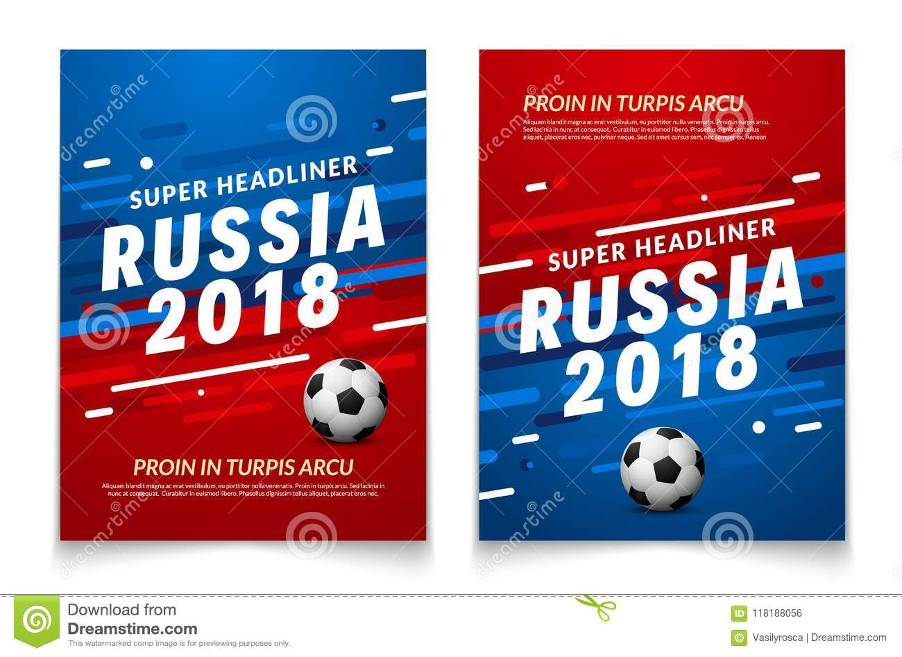 Sport Event Flyer Template Russia 2018 Soccer Cup Background