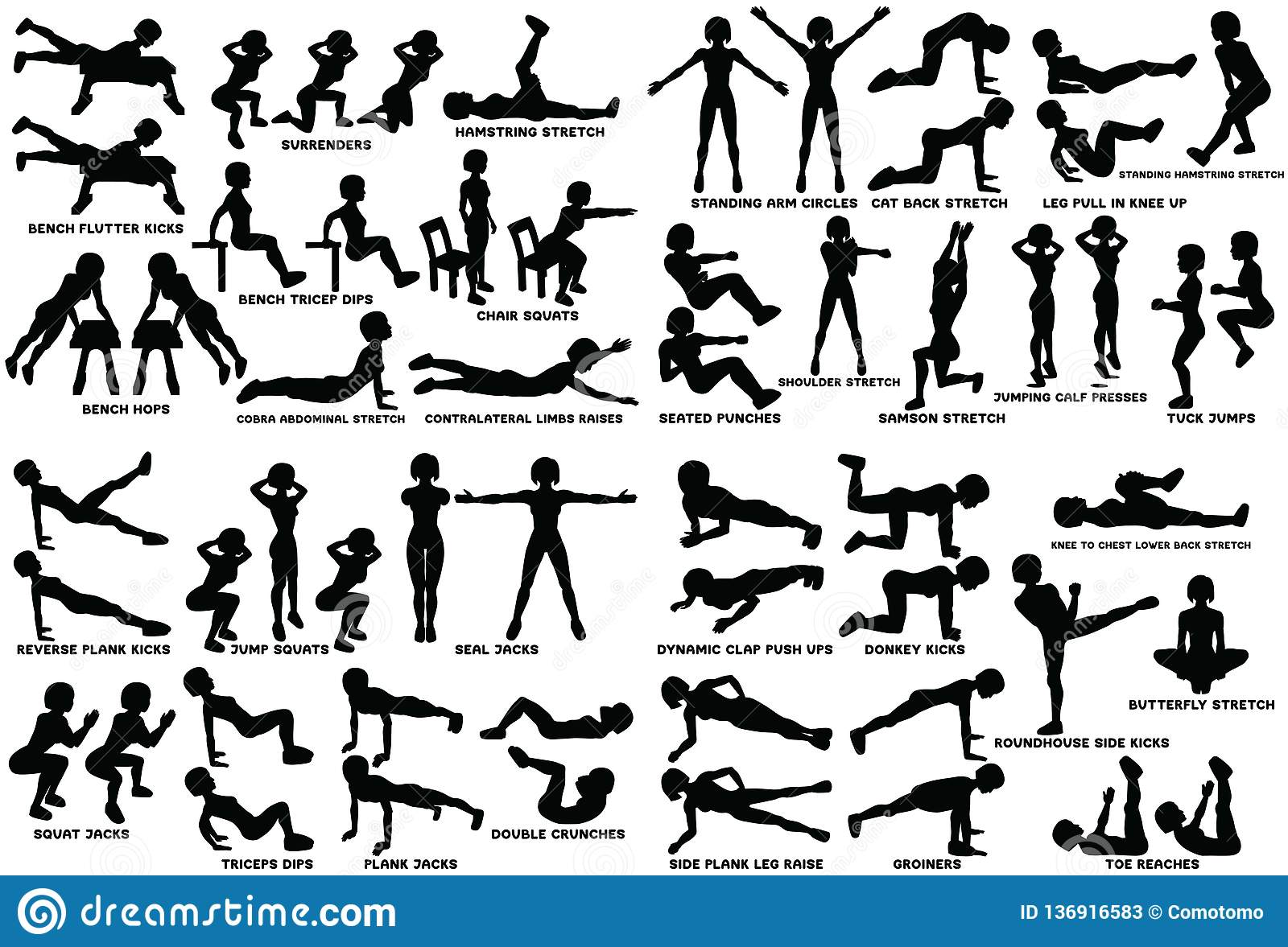 Sport Exersice  Silhouettes Of Woman Doing Exercise  Workout
