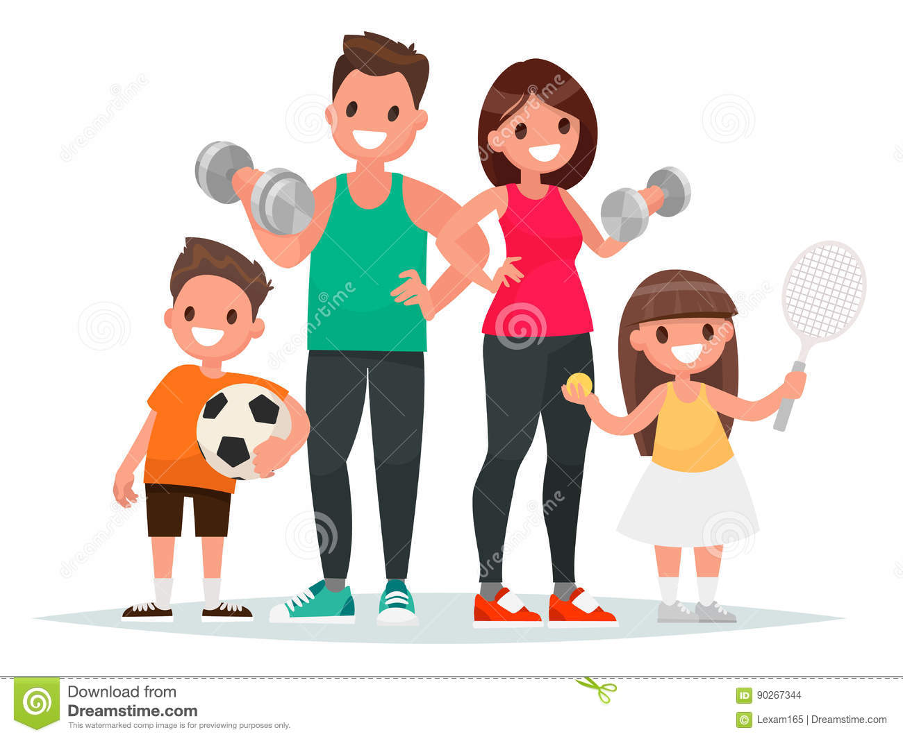 Sport Family. Dad, Mother, Son And Daughter Lead A Healthy ...