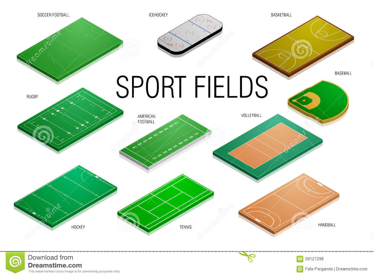 Sport Fields And Courts Stock Illustration Illustration